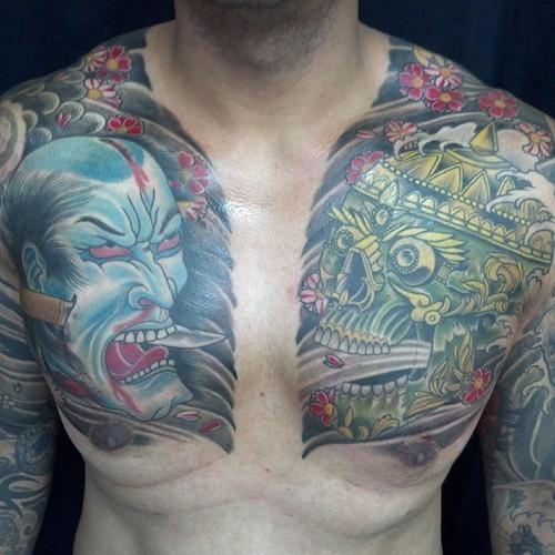 Large samurai and skull tattoo on chest for men ...